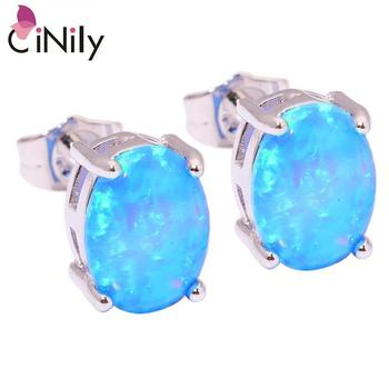 CiNily Created Blue Fire Opal 9x7mm Silver Plated Wholesale Fashion for Wedding Women Jewelry Gift Stud Earrings 9mm OH3843